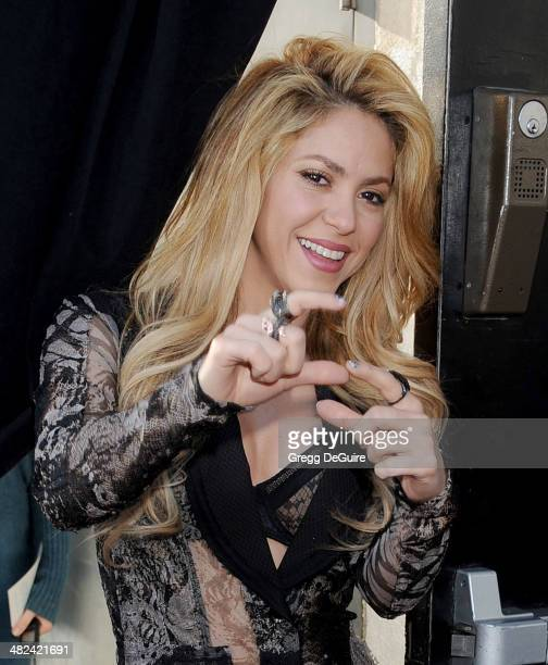 Singer Shakira arrives at NBC's 'The Voice' red carpet event at The Sayers Club on April 3 2014 in Hollywood California