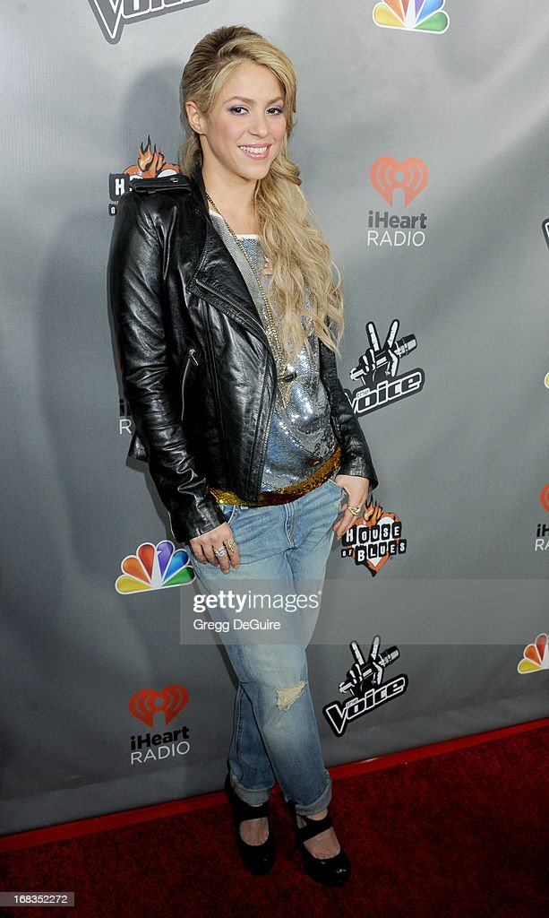 Singer <a gi-track='captionPersonalityLinkClicked' href=/galleries/search?phrase=Shakira&family=editorial&specificpeople=160650 ng-click='$event.stopPropagation()'>Shakira</a> arrives at NBC's 'The Voice' Season 4 premiere at House of Blues Sunset Strip on May 8, 2013 in West Hollywood, California.
