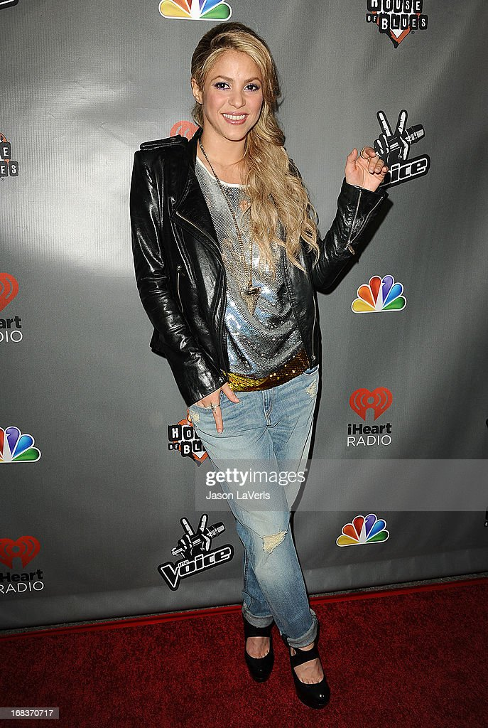 Singer <a gi-track='captionPersonalityLinkClicked' href=/galleries/search?phrase=Shakira&family=editorial&specificpeople=160650 ng-click='$event.stopPropagation()'>Shakira</a> attends 'The Voice' season 4 premiere at House of Blues Sunset Strip on May 8, 2013 in West Hollywood, California.