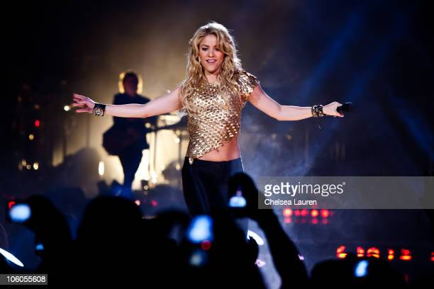 Singer Shakira performs at Honda Center on October 25 2010 in Anaheim California