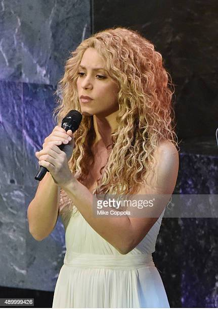 Singer Shakira performs at The United Nations General Assembly on September 25 2015 in New York City