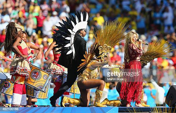 Singer Shakira performs during the closing ceremony prior to the 2014 FIFA World Cup Brazil Final match between Germany and Argentina at Maracana on...