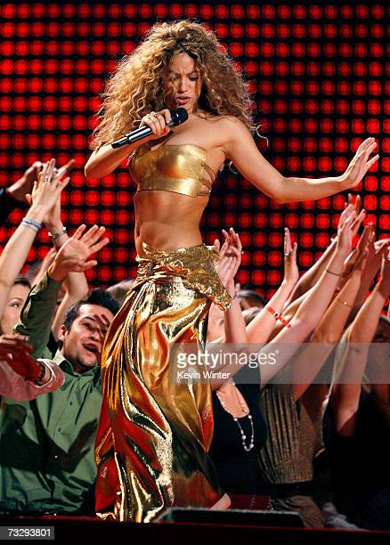 Singer Shakira performs 'Hips Don't Lie' onstage at the 49th Annual Grammy Awards at the Staples Center on February 11 2007 in Los Angeles California