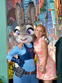 Singer Shakira poses with Judy Hopps character during the Los Angeles premiere of Walt Disney Animation Studios' 'Zootopia' on February 17 2016 in...
