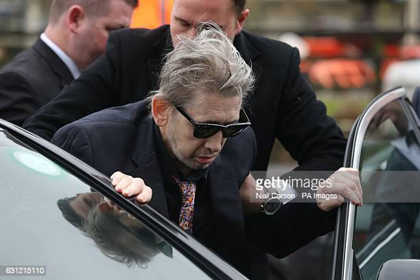 Singer Shane MacGowan is helped from the church as the funeral of his mother Therese MacGowan takes place at Our Lady of Lourdes Church Silvermines...