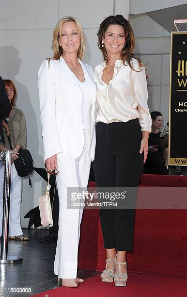 Singer Shania Twain and Model Bo Derek pose as Shania Twain is honored with the 2442nd Star on the Hollywood Walk Of Fame on June 2 2011 in Hollywood...