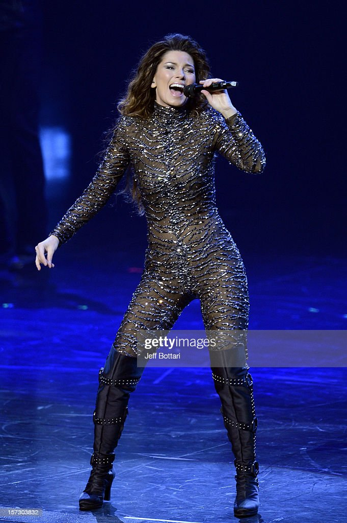 Singer Shania Twain performs during the debut of her residency show 'Shania: Still the One' at The Colosseum at Caesars Palace on December 1, 2012 in Las Vegas, Nevada.