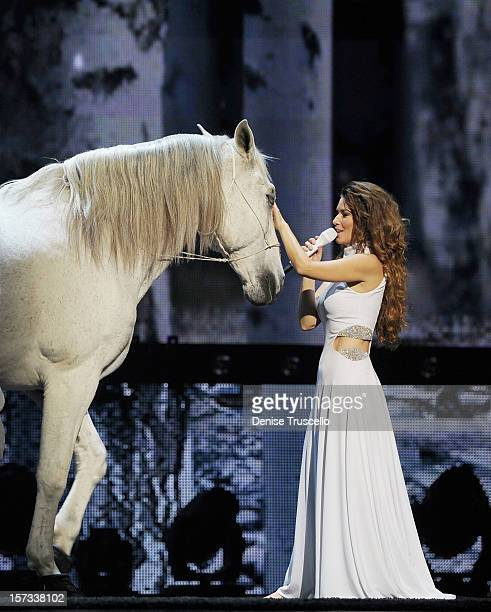 Singer Shania Twain performs during the debut of her residency show 'Shania Still the One' at The Colosseum at Caesars Palace on December 1 2012 in...