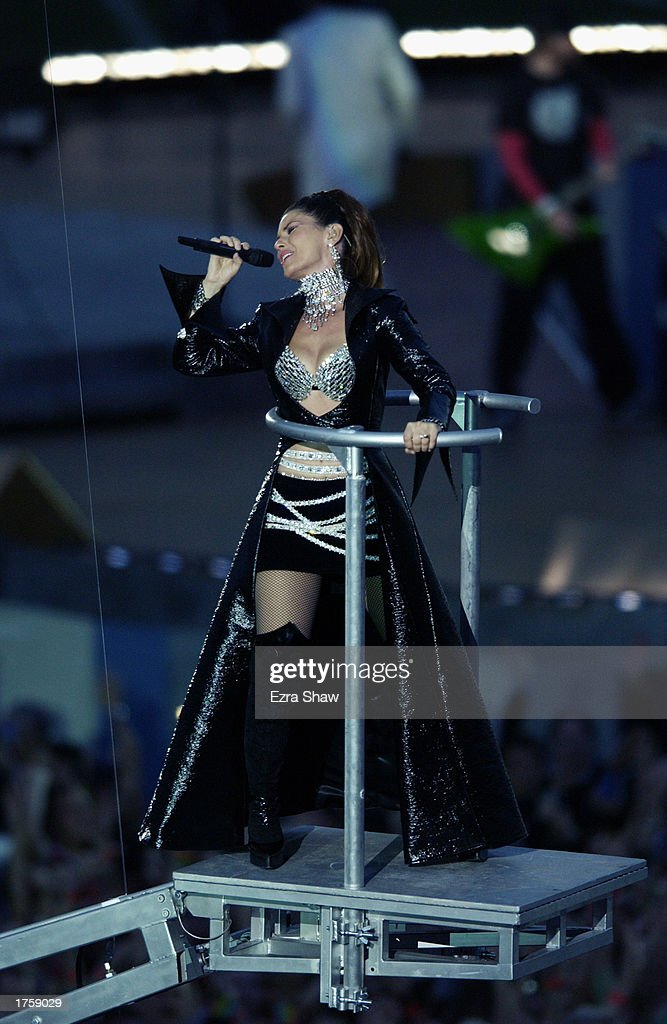 Singer Shania Twain performs during the half-time show of Super Bowl XXXVII between the Oakland Raiders and the Tampa Bay Buccaneers on January 26, 2003 at Qualcomm Stadium in San Diego, California. The Buccaneers won 48-21.