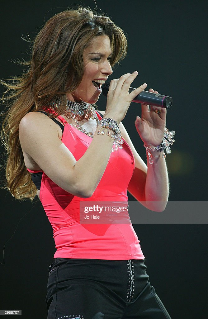 Singer Shania Twain performs on stage at the Wembley Arena February 16 2004 in London England