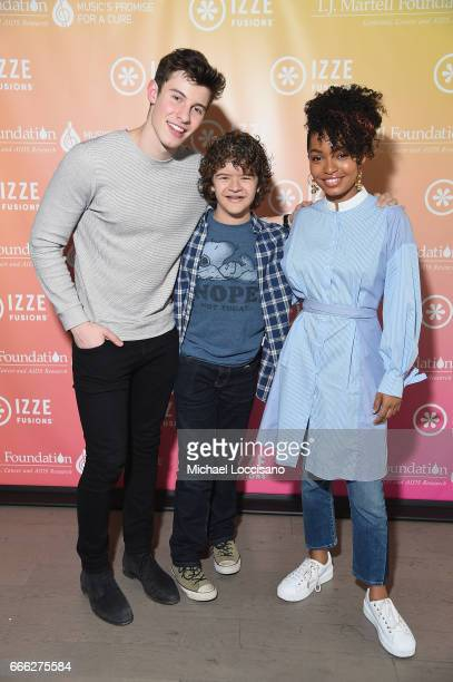 Singer Shawn Mendes actor Gaten Matarazzo and actress Yara Shahidi attend Camp IZZE to celebrate the launch of IZZE FUSIONS on April 8 2017 in...