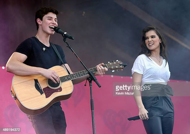 Singer Shawn Mendes and actress/singer Hailee Steinfeld perform onstage at The Daytime Village during the 2015 iHeartRadio Music Festival at the Las...