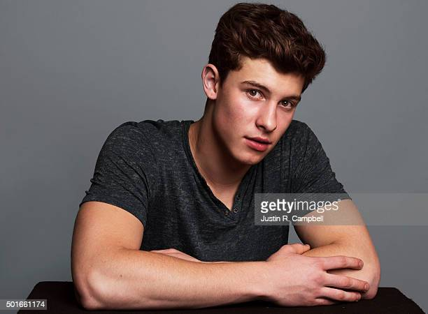 Singer Shawn Mendes poses for a portrait at the 2015 Jingle Ball for Just Jared on December 4 2015 in Los Angeles California