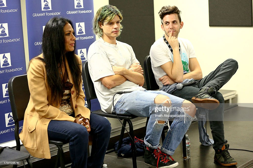 Singer Shelia E. with musicians Christian Zucconi (L) and Ryan Rabin of GROUPLOVE speak onstage at the 9th Annual GRAMMY Camp at University of Southern California on July 16, 2013 in Los Angeles, California.