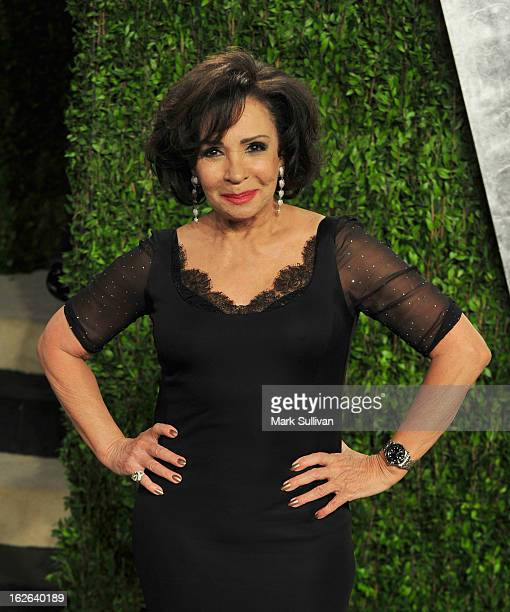 Singer Shirley Bassey arrives at the 2013 Vanity Fair Oscar Party at Sunset Tower on February 24 2013 in West Hollywood California