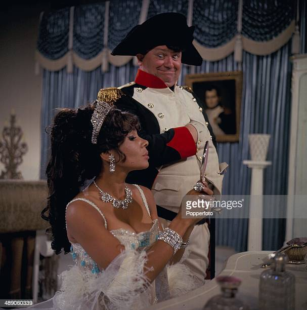 Singer Shirley Bassey pictured with Welsh comedian and singer Harry Secombe on the set of the television show 'Secombe and Friends' in 1967