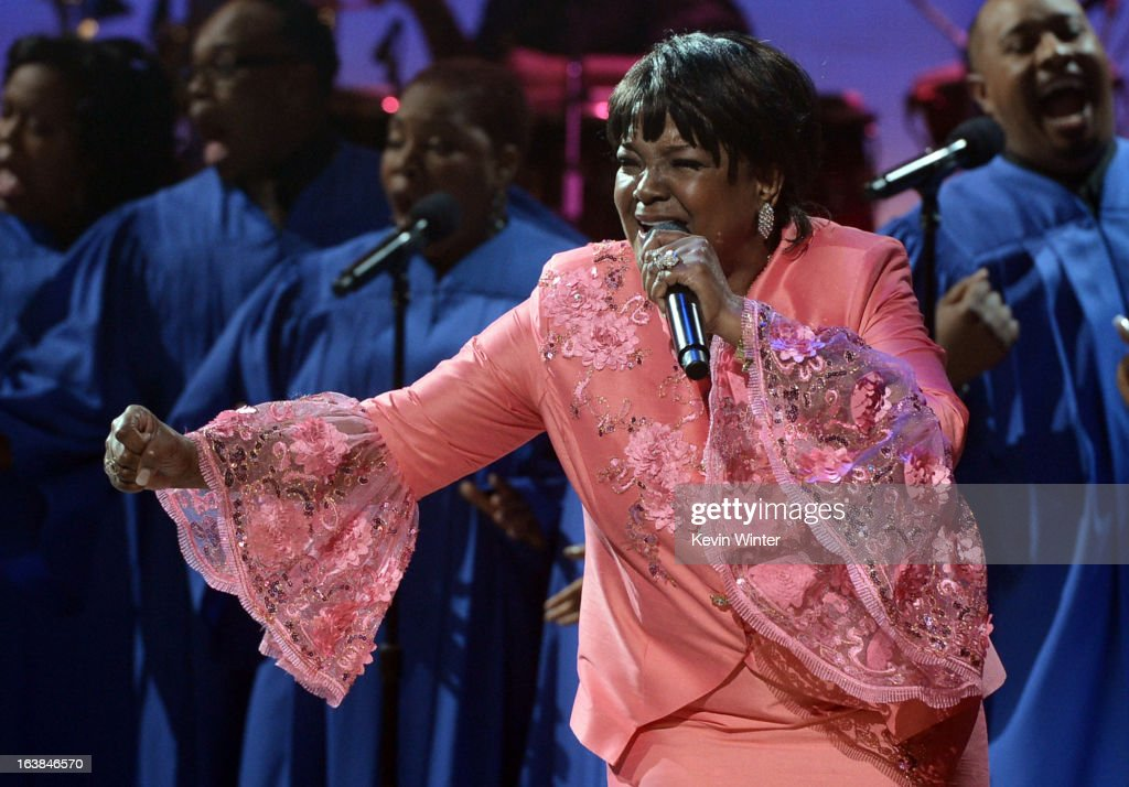 Singer Shirley Caesar performs onstage during the BET Celebration of Gospel 2013 at Orpheum Theatre on March 16, 2013 in Los Angeles, California.