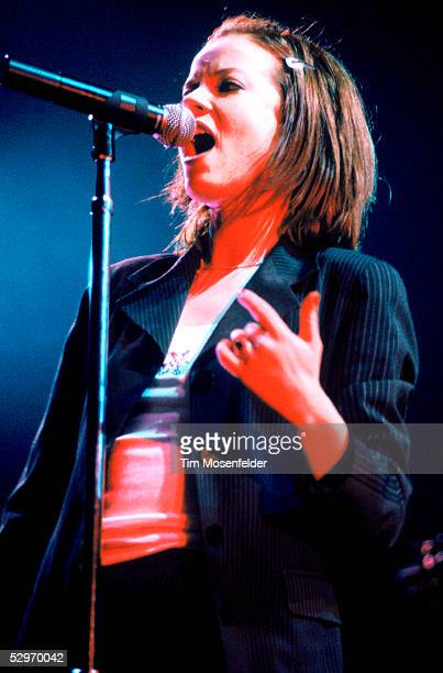 Singer Shirley Manson of Garbage performs at San Jose Arena on December 16 1996 in San Jose California