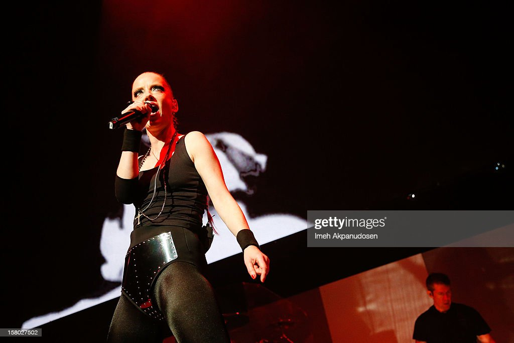 Singer Shirley Manson of Garbage performs at the 23rd Annual KROQ Almost Acoustic Christmas at Gibson Amphitheatre on December 8, 2012 in Universal City, California.