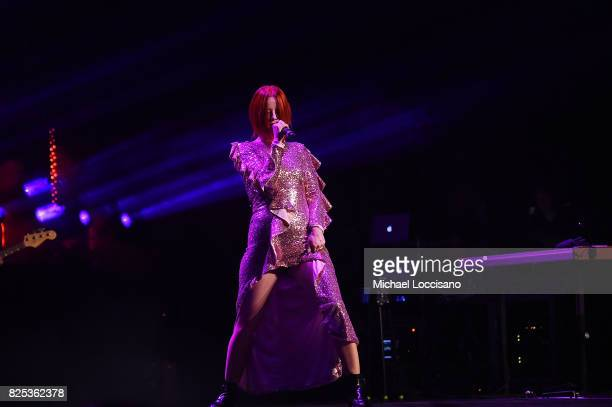 Singer Shirley Manson of Garbage performs during The Rage And Rapture Tour at The Beacon Theatre on August 1 2017 in New York City