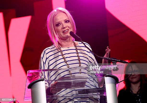 Singer Shirley Manson speaks on stage at the She Rocks Awards during the 2017 NAMM Show at the Anaheim Convention Center on January 20 2017 in...