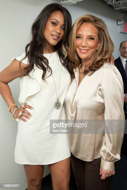 Singer Shontelle and Denise Rich attend the Music Unites Girls Inc Power of One series at the Intrepid SeaAirSpace Museum on March 10 2011 in New...