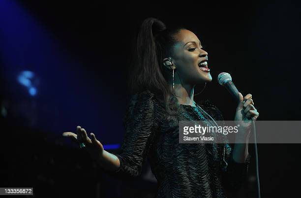 Singer Shontelle performs at the BMI Industry Insider's 'How I Produced The Record' panel and performance at the Highline Ballroom on March 4 2010 in...