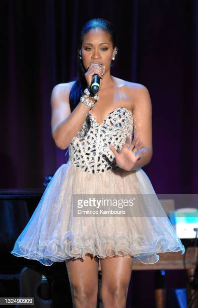 Singer Shontelle performs during the 2010 Angel Ball to Benefit Gabrielle's Angel Foundation at Cipriani Wall Street on October 21 2010 in New York...