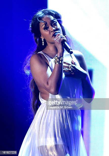 Singer Shontelle performs onstage at the 3rd Annual Streamy Awards at Hollywood Palladium on February 17 2013 in Hollywood California