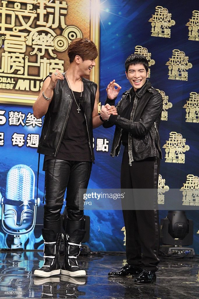 Singer Show Lo and Jam Hsiao attend press conference of a TV program 'Global Chinese Music' on Monday July 28,2014 in Taipei,China.
