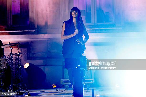 Singer Shy'm performs during the 'Une Nuit avec la Police et la Gendarmerie' France 2 TV Show Held at Ministere de l'Interieur in Paris on June 30...
