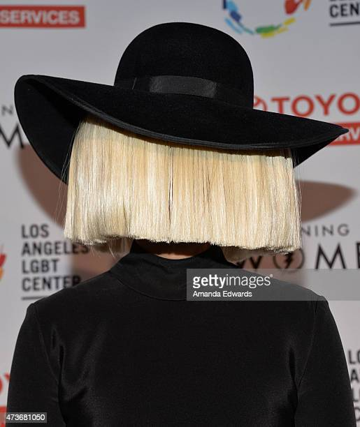 Singer Sia arrives at An Evening With Women Benefiting The Los Angeles LGBT Center at the Hollywood Palladium on May 16 2015 in Los Angeles California