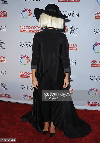 Singer Sia arrives at An Evening With Women Benefitting The Los Angeles LGBT Center at Hollywood Palladium on May 16 2015 in Los Angeles California