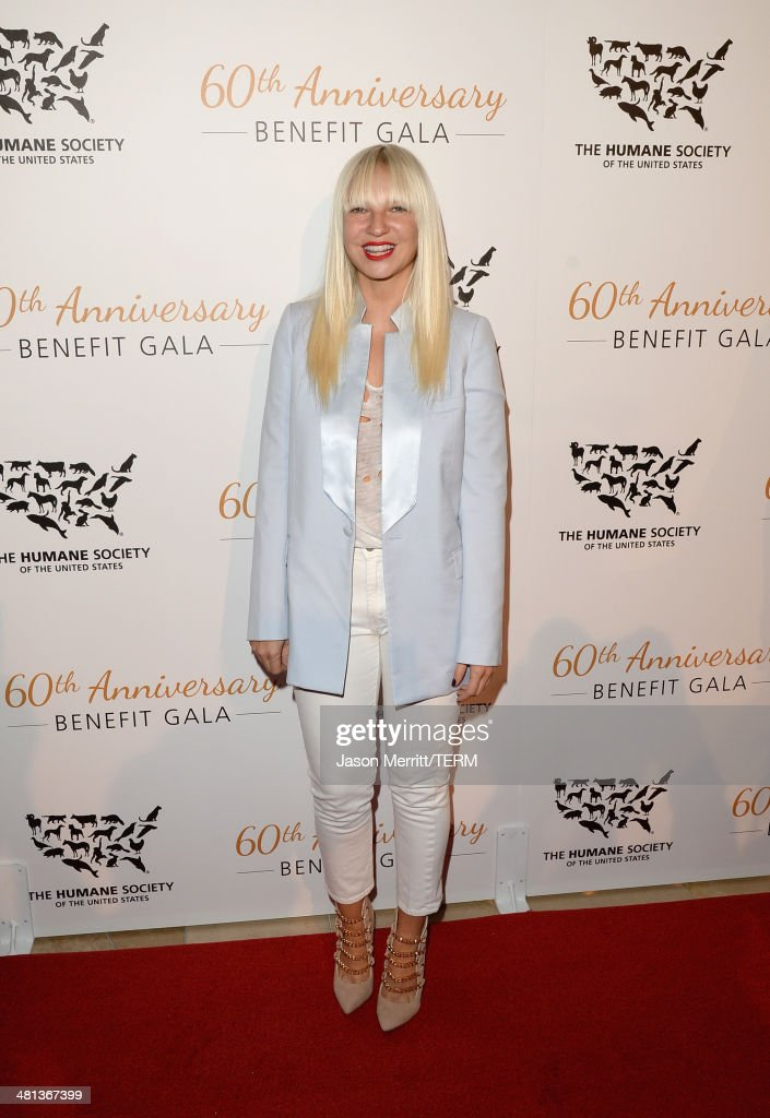 Singer Sia attends the Humane Society of The United States 60th Anniversary Gala at The Beverly Hilton Hotel on March 29, 2014 in Beverly Hills, California.