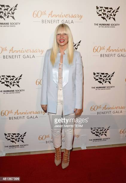 Singer Sia attends the Humane Society of The United States 60th Anniversary Gala at The Beverly Hilton Hotel on March 29 2014 in Beverly Hills...
