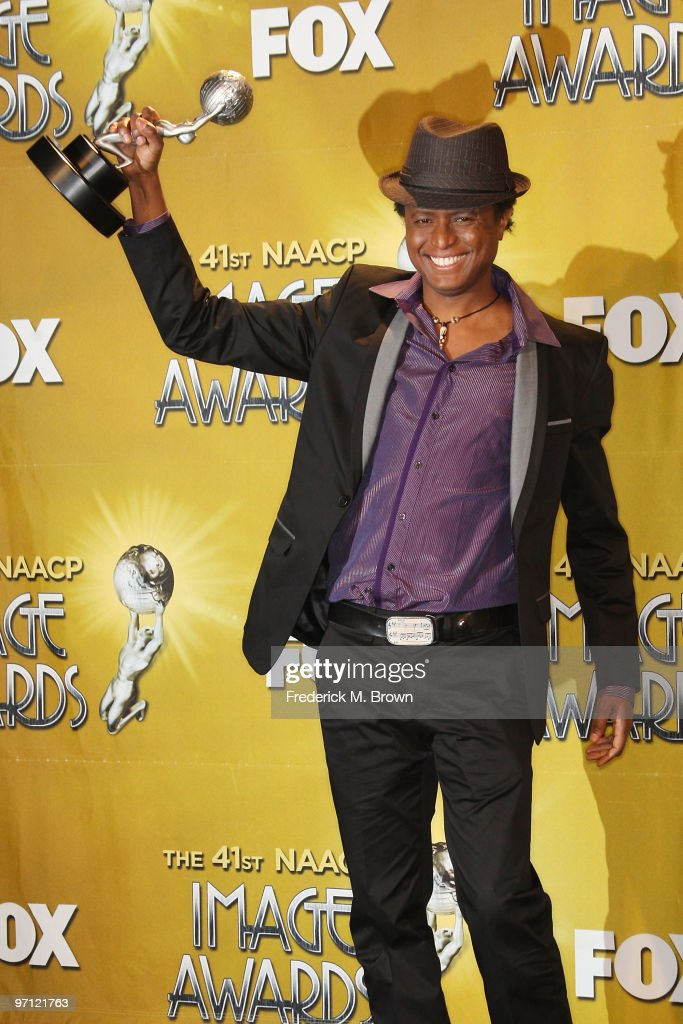 Singer Sila of Sila and the Afrofunk Experience, winner Outstanding World Music Album for 'Black President,' poses in the press room during the 41st NAACP Image awards held at The Shrine Auditorium on February 26, 2010 in Los Angeles, California.
