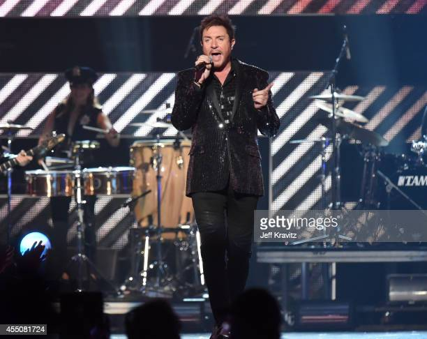 Singer Simon Le Bon of Duran Duran performs onstage at Fashion Rocks 2014 presented by Three Lions Entertainment at the Barclays Center of Brooklyn...