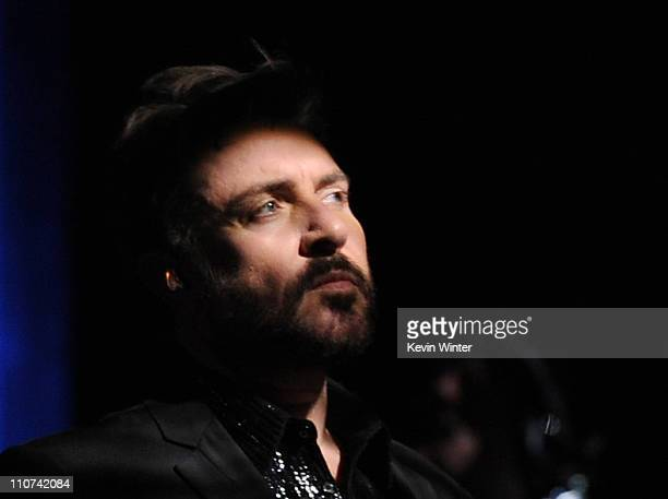 Singer Simon Le Bon of Duran Duran performs onstage during 'Unstaged An Original Series From American Express' with a performance by Duran Duran and...