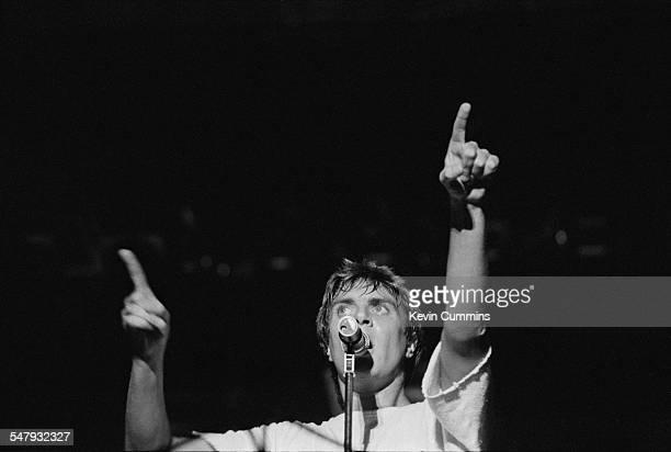 Singer Simon Le Bon performing with English New Romantic pop group Duran Duran at the Villa Park football stadium Birmingham 23rd July 1983