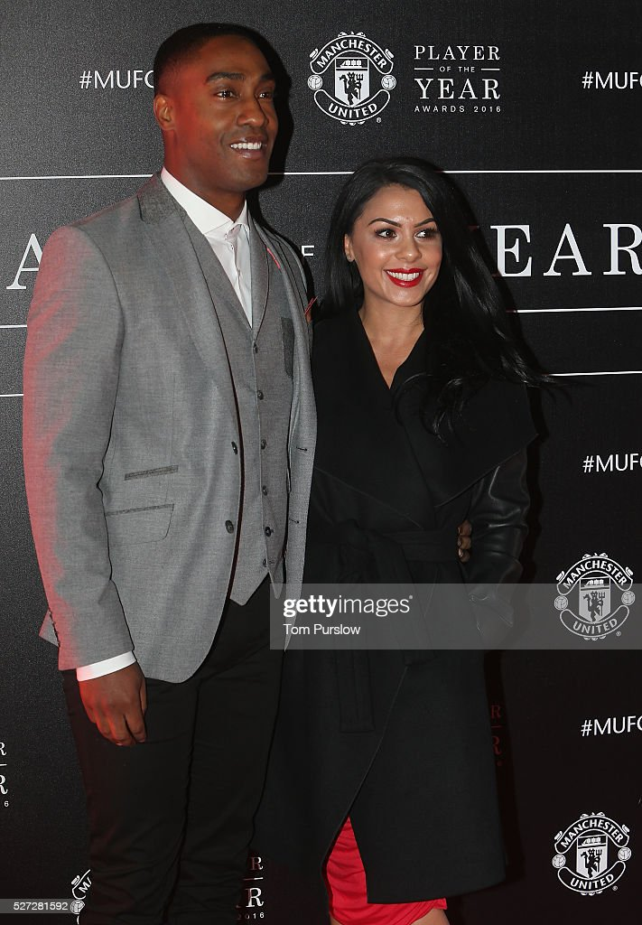 Singer Simon Webbe arrives with his partner at the club's annual Player of the Year awards at Old Trafford on May 2, 2016 in Manchester, England.