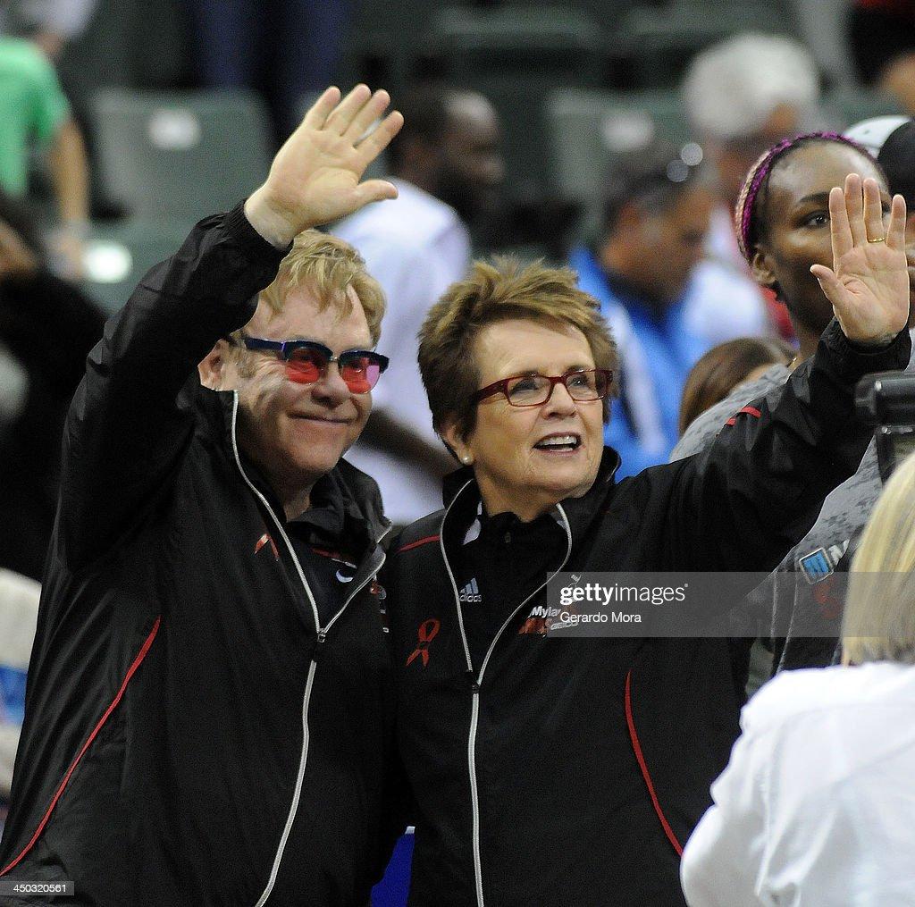Singer Sir Elton John (L) and tennis legend Billie Jean King greets during the Mylan World TeamTennis Matches at ESPN Wide World of Sports Complex on November 17, 2013 in Lake Buena Vista, Florida.