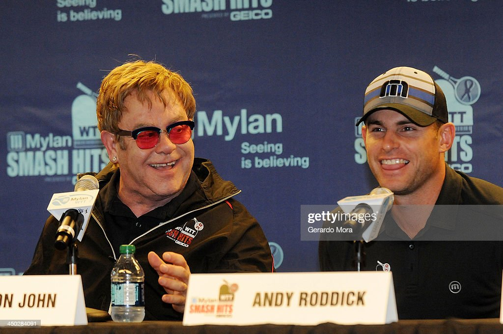 Singer Sir <a gi-track='captionPersonalityLinkClicked' href=/galleries/search?phrase=Elton+John&family=editorial&specificpeople=171369 ng-click='$event.stopPropagation()'>Elton John</a> (L) and Tennis player <a gi-track='captionPersonalityLinkClicked' href=/galleries/search?phrase=Andy+Roddick&family=editorial&specificpeople=167084 ng-click='$event.stopPropagation()'>Andy Roddick</a> smile during the press conference for Mylan World TeamTennis at ESPN Wide World of Sports Complex on November 17, 2013 in Lake Buena Vista, Florida.