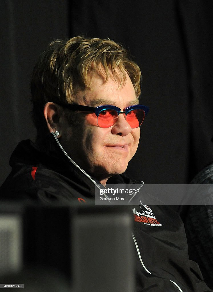 Singer Sir <a gi-track='captionPersonalityLinkClicked' href=/galleries/search?phrase=Elton+John&family=editorial&specificpeople=171369 ng-click='$event.stopPropagation()'>Elton John</a> attend the Mylan World TeamTennis VIP reception at ESPN Wide World of Sports Complex on November 17, 2013 in Lake Buena Vista, Florida.