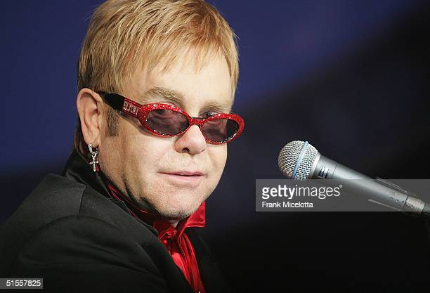 Singer Sir Elton John performs at Best Buy's VIP launch party for the Elton John four DVD collection 'Dream Ticket' at Caeser's Palace Hotel on...