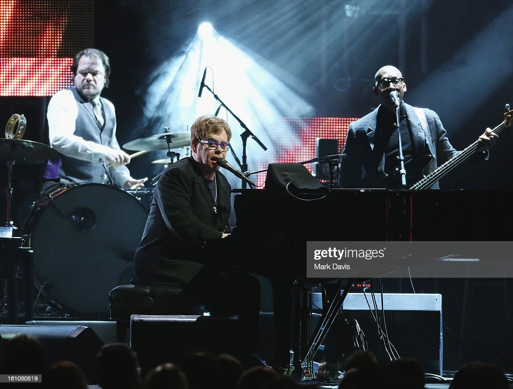 Singer Sir Elton John performs onstage at MusiCares Person Of The Year Honoring Bruce Springsteen at the Los Angeles Convention Center on February 8, 2013 in Los Angeles, California.