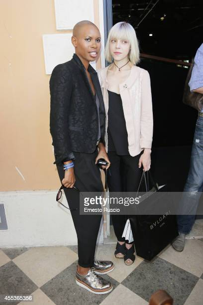 Singer Skin and Antonia Campbell Hughes attend the 'Andron The Black Labyrinth' Photocall at La Casa Del Cinema on September 13 2014 in Rome Italy