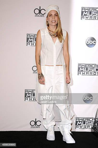 Singer Skylar Grey poses in the press room at the 2014 American Music Awards at Nokia Theatre LA Live on November 23 2014 in Los Angeles California
