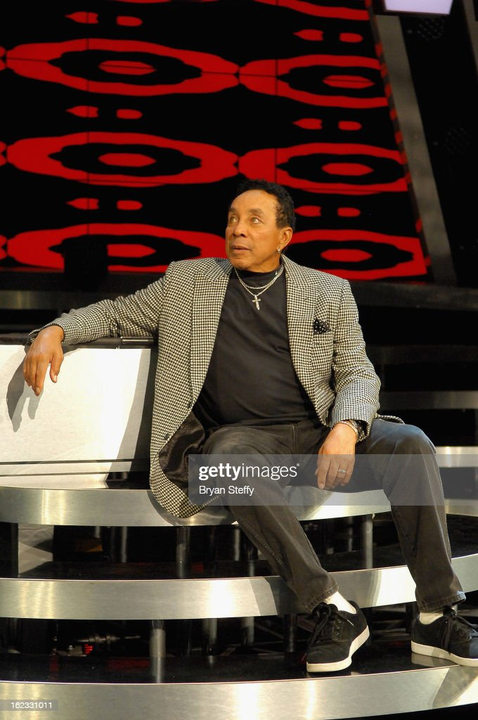 Singer <a gi-track='captionPersonalityLinkClicked' href=/galleries/search?phrase=Smokey+Robinson&family=editorial&specificpeople=210698 ng-click='$event.stopPropagation()'>Smokey Robinson</a> appears at a rehearsal with Human Nature in preparation for their opening show at The Venetian on February 21, 2013 in Las Vegas, Nevada.