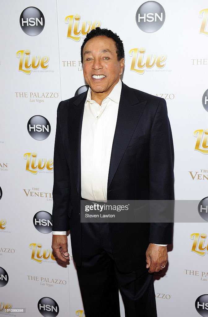 Singer <a gi-track='captionPersonalityLinkClicked' href=/galleries/search?phrase=Smokey+Robinson&family=editorial&specificpeople=210698 ng-click='$event.stopPropagation()'>Smokey Robinson</a> arrives at the HSN Live Michael Bolton concert at The Venetian Resort Hotel Casino on February 8, 2013 in Las Vegas, Nevada.