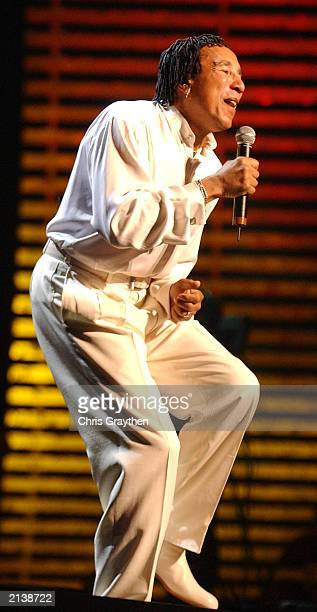 Singer Smokey Robinson performs at the 2003 Essence Festival at the 2003 Essence Festival July 5 2003 in New Orleans Louisiana The performances were...